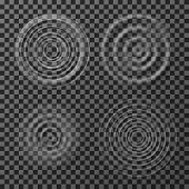 Water Ripples. Sound Impact Circular Ripples. Concentric Circles Top View Isolated On Transparent Ba poster
