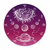 Color Hand Drawn Astrology Concept With Zodiac Signs And Planetary System Vector Illustration. Astro poster