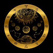 Golden Astrology Concept With Planets Isolated On Black Background. Golden Astrology Zodiac Icon, Pl poster