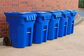 5 Blue Garbage Bins