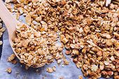 Homemade Roasted Granola On Baking Sheet With Sesame, Pumpkin, Sunflower Seeds, Nuts And Almonds. Su poster