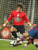 BARCELONA-APRIL 14: Aranzubia of Real Club Deportivo in action during a Spanish League match between