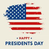 Happy Presidents Day Vector Illustration Hand Drawn Text Lettering For Presidents Day In Usa. Script poster