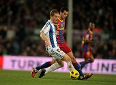 BARCELONA - DEC 12: David Zurutuza of Real Sociedad in action during a Spanish League match between