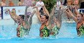 BARCELONA - June, 18: USA synchro swimmers team in a Free Team Rutine during the Espana Sincro meeti