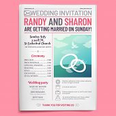 Wedding Invitation Tabloid. Newspaper Front Page, Getting Married Brochure And Old Love Journal Layo poster
