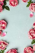 Border of beautiful pink tulips on blue shabby chic background poster
