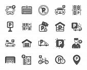 Parking Icons. Car Garage, Valet Servant And Paid Transport Parking Icons. Video Monitoring, Bike Or poster