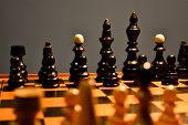 Chessboard With Pieces, Black Pieces In Focus poster