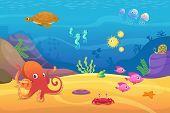 Underwater Life. Aquarium Cartoon Fish Ocean And Sea Animals Vector Background. Illustration Of Unde poster