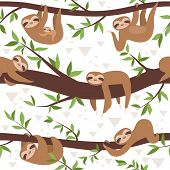 Sloth Seamless. Cute Little Sleepy Baby Animal Textile Pattern Family Hanging Vector Concept. Illust poster