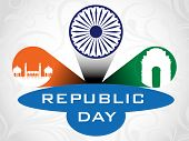 3D vector illustration for Republic Day having Asoka wheel, India Gate and Red Fort with text copy s
