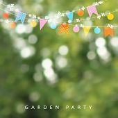 Spring Or Summer Greeting Card, Invitation. String Of Lights, Bunting Flags And Cherry Blossoms. Mod poster