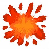 Red Explosion Icon. Cartoon Illustration Of Red Explosion Icon For Web Design poster
