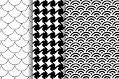 Set Three Patterns. Pepitas Pattern. Black And White Pattern. Japanese Pattern. Fish Scale Motif. poster