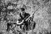 Hunting Shooting Trophy. Hunting Hobby And Leisure. Man Charging Hunting Rifle. Hunting Equipment Co poster