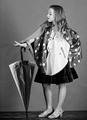 Waterproof Accessories Manufacture. Kid Girl Happy Hold Colorful Umbrella Wear Waterproof Cloak. Enj poster