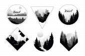 Set Of Monochrome Landscapes In Geometric Shapes Circle, Triangle, Rhombus. Natural Sceneries With W poster