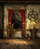 stock photo of pentacle  - a room with medieval interior by candlelight - JPG