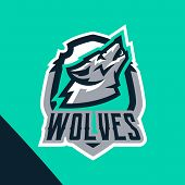 Colorful Emblem Of The Howling Wolf. Logo, Badge Of The Wild Beast, Dangerous Animal, Aggressive Pre poster