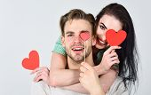 Man And Woman Couple In Love Hug And Hold Red Heart Valentines Cards Close Up. Valentines Day Concep poster