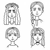 Set Of Cartoon Sketches Of Cute Girls. Doodle Style Illustration Of Girls Portraits. Cute Girl Smili poster