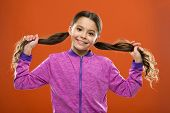 Easy Tips Making Hairstyle For Kids. Small Child Long Hair. Charming Beauty. Girl Active Kid With Lo poster