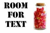 Candy. Red candies in a jar with a cork lid. isolated on white. room for text. poster