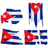 Set Of Four Flags, Illustration Of Torn Flags, Cuba Flag, Vector Isolated On White Background poster