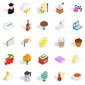 Academic Year Icons Set. Isometric Set Of 25 Academic Year Icons For Web Isolated On White Backgroun poster