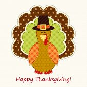 Cute Thanksgiving Turkey As Retro Fabric Applique In Traditional Colors poster