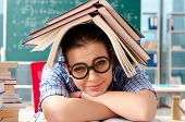 Female student with many books sitting in the classroom poster