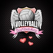 Happy Valentine Day. Volleyball Logo Template Design. Volleyball Ball With Wings And Nimbus. Pattern poster