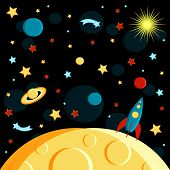 Surface Of The Moon, Rocket And Space View. Moon, Sun, Saturn, Earth, Other Planets, Rocket Stars Co poster