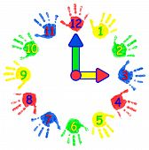 Creative Childrens Watches From Childrens Palms. Colorful Object. The Prints Are Made With Finger  poster