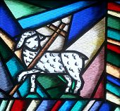 stock photo of stained glass  - The lamb of God - JPG