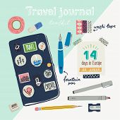 Hand Drawn Flat Style Travel Journaling Toolkit. Art Journal Essentials - Sketchbook In Cover With S poster