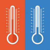 Celsius And Fahrenheit Thermometers. Vector Flat Icon poster