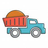 Heavy Construction Tipper Icon. Cartoon Illustration Of Heavy Construction Tipper Icon For Web Desig poster