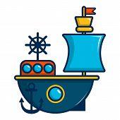 Toy Sailing Ship Icon. Cartoon Illustration Of Toy Sailing Ship Icon For Web Design poster