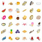 Tasty Dishes Icons Set. Isometric Style Of 36 Tasty Dishes Icons For Web Isolated On White Backgroun poster
