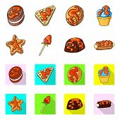 Vector Illustration Of Confectionery And Culinary Symbol. Set Of Confectionery And Product Vector Ic poster