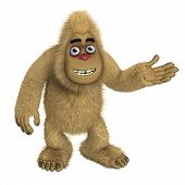 foto of bigfoot  - 3 d cartoon brown cute bigfoot monster - JPG