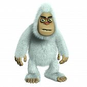 stock photo of bigfoot  - 3 d cartoon cute white bigfoot toy monster - JPG