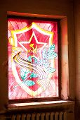 foto of hammer sickle  - Red star hammer and sickle laurel wreath and sabers  - JPG