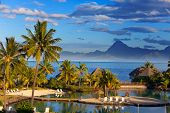 pic of french polynesia  - Ocean at sunset  - JPG