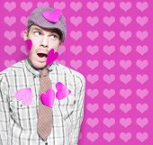 Man In Love Romance On Heart Design Background