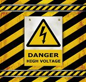 stock photo of voltage  - Sign caution blackboard danger high voltage Sign caution blackboard danger high voltage - JPG