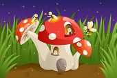 pic of fireflies  - A vector illustration of mushroom house with fireflies - JPG