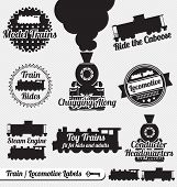 stock photo of caboose  - Collection of retro style train and locomotive labels and icons - JPG